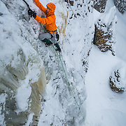 Jed Weber on a route called Switchback Falls rated WI3 in Hyalite Canyon near Bozeman Montana
