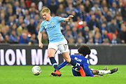 Kevin De Bruyne (17) of Manchester City runs past Willian (22) of Chelsea during the Carabao Cup Final match between Chelsea and Manchester City at Wembley Stadium, London, England on 24 February 2019.
