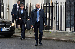 © Licensed to London News Pictures. 08/01/2020. London, UK. Chancellor of the  Chancellor of the Exchequer Sajid Javid arrives at No.10 Downing St. Photo credit: Ray Tang/LNP
