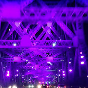 Crossing the Jacques Cartier Bridge lit up by Moment Factory.