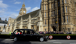 © Licensed to London News Pictures. 16/04/2013. London, UK. The body of Baroness Thatcher is being moved to and rest overnight in the Chapel of St Mary Undercroft. Baroness Thatcher specifically requested that the service and the resting overnight in the Palace of Westminster be a private occasion before her funeral. Photo credit : Peter Kollanyi/LNP