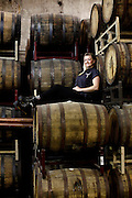 Cat Wiest, a shift brewer at Speakeasy, in the room where they barrel-age some of their beers, in San Francisco, Calif., on Friday, May 22, 2015.