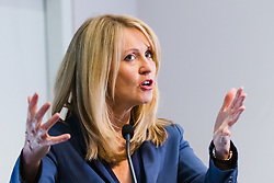 """© Licensed to London News Pictures. 10/06/2019. London, UK.  Tory leadership candidate, Esther McVey makes a pro Brexit speech about """"Taking Back Control of Britain's EU Exit"""" at a Bruges Group event held in Westminster. Many of the Tory leadership candidates are holding launch events in the capital today. Photo credit: Vickie Flores/LNP"""