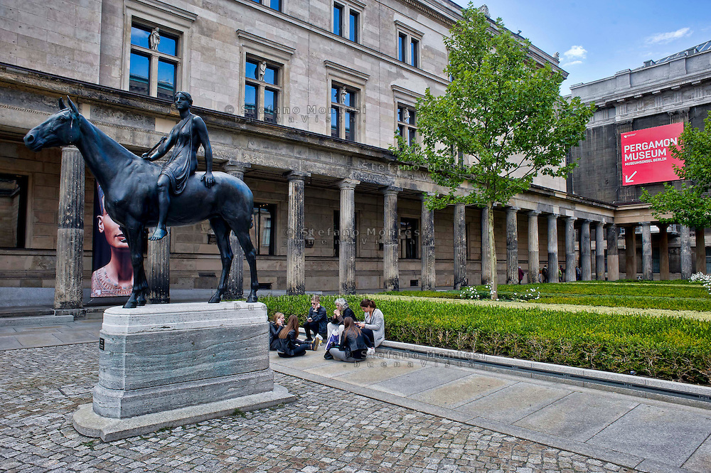 Berlin,  Museum Island<br /> Pergamon Museum entrance, a statue