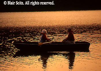 Outdoor recreation, Seniors Enjoy Boating on Lake at Sunset, York Co., PA