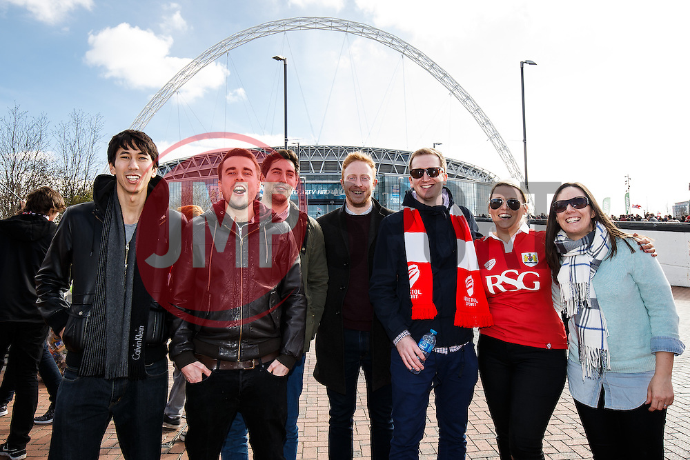 Bristol City Fans make their way to Wembley Stadium before the Match - Photo mandatory by-line: Rogan Thomson/JMP - 07966 386802 - 22/03/2015 - SPORT - FOOTBALL - London, England - Wembley Stadium - Bristol City v Walsall - Johnstone's Paint Trophy Final.