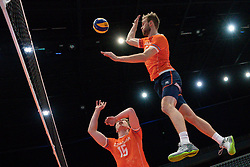 11-08-2019 NED: FIVB Tokyo Volleyball Qualification 2019 / Netherlands - USA, Rotterdam<br /> Final match pool B in hall Ahoy between Netherlands vs. United States (1-3) and Olympic ticket  for USA / Gijs van Solkema #15 of Netherlands, Luuc van der Ent #5 of Netherlands