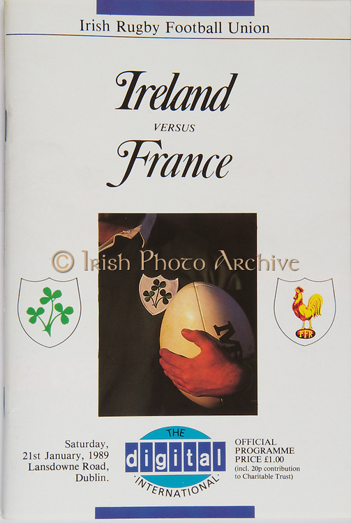 Irish Rugby Football Union, Ireland v France, Five Nations, Landsdowne Road, Dublin, Ireland, Saturday 21st January 1989,.21.01.1989, 01.21.1989,..Referee- B Anderson, SRU,..Score- Ireland 21 - 26 France,..Irish Team, ..P P A Danaher,  Wearing number 15 Irish jersey, Full Back, Garryowen Rugby Football Club,  Ireland,..J F Sexton, Wearing number 14 Irish jersey, Right Wing, Lansdowne Rugby Football Club,  Ireland,..B J Mullin, Wearing number 13 Irish jersey, Right Centre, London Irish Rugby Football Club, London, England,  ..D G Irwin, Wearing number 12 Irish jersey, Left Centre, Instonians Rugby Football Club, Belfast, Northern Ireland, ..M J Kiernan, Wearing number 11 Irish jersey, Left Wing, Dolphin Rugby Football Club, Dublin, Ireland,..P M Dean, Wearing number 10 Irish jersey, Out Half, St Marys College Rugby Football Club, Dublin, Ireland,..F P Aherne, Wearing number 9 Irish jersey, Scrum Half, Lansdowne Rugby Football Club, Dublin, Ireland,..N P Mannion, Wearing number 8 Irish jersey, Forward, Corinthians Rugby Football Club, Gaway, Ireland,..P T J O'Hara , Wearing number 7 Irish jersey, Forward, Sundays Well Rugby Football Club, Cork, Ireland, ..P M Mathews, Wearing number 6 Irish jersey, Captain of the Irish team, Forward, Wanderers Rugby Football Club, Dublin, Ireland,..W A Anderson, Wearing number 5 Irish jersey, Forward, Dungannon Rugby Football Club, Tyrone, Northern Ireland, ..D G Lenihan, Wearing number 4 Irish jersey, Forward, Cork Constitution Rugby Football Club, Cork, Ireland,..J J Mcoy, Wearing number 3 Irish jersey, Forward, Bangor Rugby Football Club, Down, Northern Ireland,..S J Smith, Wearing number 2 Irish jersey, Forward, Ballymena Rugby Football Club, Antrim, Northern Ireland, ..T P J Clancy, Wearing number 1 Irish jersey, Forward, Lansdowne Rugby Football Club, Dublin, Ireland,..French Team, ..S Blanco, Wearing number 15 French jersey, Full Back, Biarritz Olympique Rugby Football Club, France, ..J B Lafond, Wearing number 14 French jersey