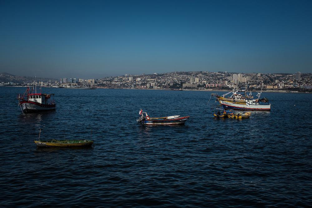 VALPARAISO, CHILE - MARCH 17, 2014: Artisanal fishing boats anchored off the coast of Valparaiso, Chile. PHOTO: Meridith Kohut for The World Wildlife Fund