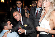 SAVILLE DORMAN; DAN CATEN; ( OF DEAN AND DAN) ALEX CATTELL,  DSquared2 Launch of their Classic collection. Tramp. Jermyn St. London. 29 June 2011. <br /> <br />  , -DO NOT ARCHIVE-© Copyright Photograph by Dafydd Jones. 248 Clapham Rd. London SW9 0PZ. Tel 0207 820 0771. www.dafjones.com.