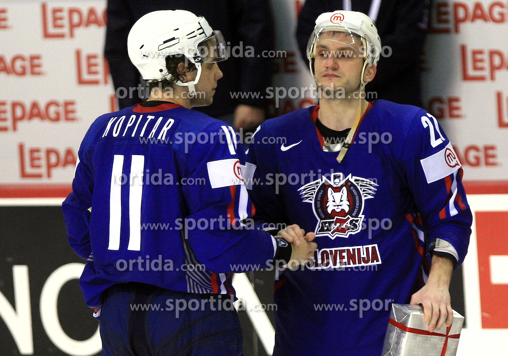 Anze Kopitar and Miha Rebolj  of Slovenia after ice-hockey game Slovenia vs Slovakia at second game in  Relegation  Round (group G) of IIHF WC 2008 in Halifax, on May 10, 2008 in Metro Center, Halifax, Nova Scotia, Canada. Slovakia won after penalty shots 4:3.  (Photo by Vid Ponikvar / Sportal Images)