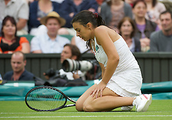 28.06.2011, Wimbledon, London, GBR, WTA Tour, Wimbledon Tennis Championships, im Bild Marion Bartoli (FRA) looks dejected during the Ladies' Singles Quarter-Final match on day eight of the Wimbledon Lawn Tennis Championships at the All England Lawn Tennis and Croquet Club. EXPA Pictures © 2011, PhotoCredit: EXPA/ Propaganda/ David Rawcliffe +++++ ATTENTION - OUT OF ENGLAND/UK +++++ // SPORTIDA PHOTO AGENCY