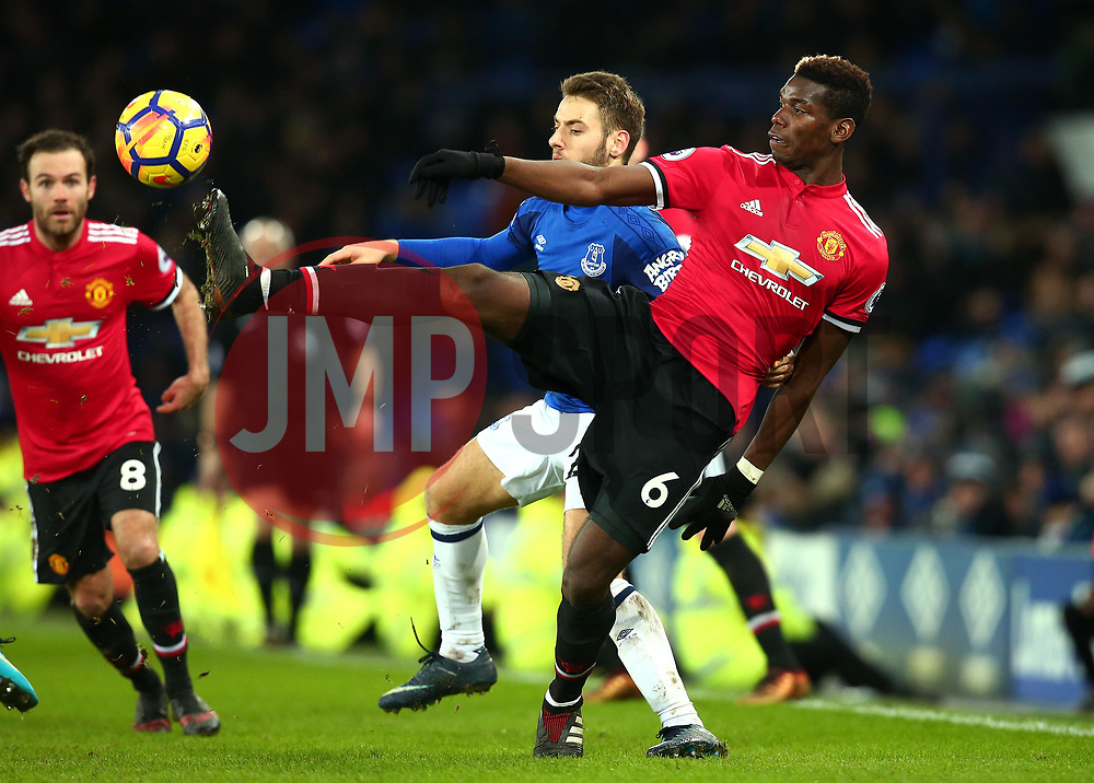 Paul Pogba of Manchester United controls the ball - Mandatory by-line: Robbie Stephenson/JMP - 01/01/2018 - FOOTBALL - Goodison Park - Liverpool, England - Everton v Manchester United - Premier League