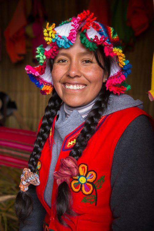 South America,Peru, Puno, Urus Islands, Lake Tititaca, Uros floatin villages, portrait of an Uro woman
