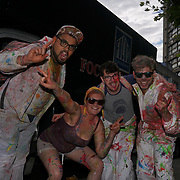 London, UK. 27th August 2017. Participates for the Notting Hill Carnival 2017 kick off J,ouvert covered with paint at Westbrone park.