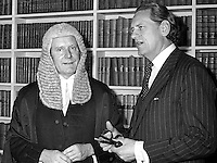 Sir Michael Havers, QC, MP, Solicitor General for England & Wales, left, with Sir Peter Rawlinson, Attorney General for England & Wales, during a visit to Belfast, N Ireland. Both are Conservative Party MPs. Location probably the Royal Courts of Justice. Purpose of visit - not known. 197212000799a.<br /> <br /> Copyright Image from Victor Patterson, 54 Dorchester Park, Belfast, UK, BT9 6RJ<br /> <br /> t1: +44 28 9066 1296 (from Rep of Ireland 048 9066 1296)<br /> t2: +44 28 9002 2446 (from Rep of Ireland 048 9002 2446)<br /> m: +44 7802 353836<br /> <br /> victorpattersonbelfast@gmail.com<br /> <br /> www.victorpatterson.com<br /> <br /> Please see my Terms and Conditions of Use at https://www.victorpatterson.com/page2<br /> It is IMPORTANT that you familiarise yourself with them.<br /> <br /> Images used on the Internet incur an additional cost and must be visibly watermarked i.e. © Victor Patterson within the body of the image and copyright metadata must not be deleted. Images used on the Internet have a size restriction of 4kbs and are chargeable at rates available at victorpatterson.com.<br /> <br /> This image is available only for the use of the download recipient i.e. television station, newspaper, magazine, book publisher, etc, and must not be passed on to any third party. It is also downloaded on condition that each and every usage is notified within 7 days to victorpattersonbelfast@me.com.<br /> <br /> The right of Victor Patterson (or the named photographer) to be identified as the author is asserted in accordance with The Copyright Designs And Patents Act (1988). All moral rights are asserted.