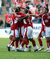 Photo: Mark Stephenson.<br /> Coventry City v Bristol City. Coca Cola Championship. 15/09/2007.Bristol's Darren Byfield (L) scores there 3ed goal and celebrates with his team mates