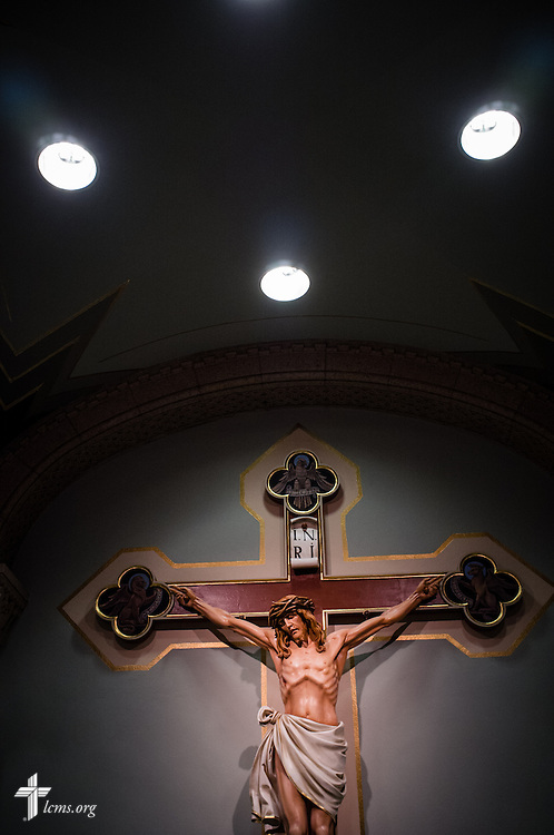 Interior photograph of a crucifix in St. Francis of Assisi Church during the DOXOLOGY Encore evening prayers on Friday, Feb. 21, 2014, in Springfield, Ill. LCMS Communications/Erik M. Lunsford