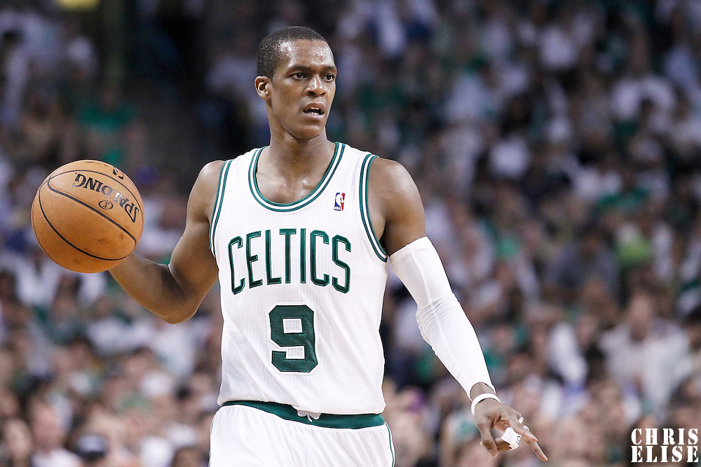 26 May 2012: Boston Celtics point guard Rajon Rondo (9) sets a play during the Boston Celtics 85-75 victory over the Philadelphia Sixer, in Game 7 of the Eastern Conference semifinals playoff series, at the TD Banknorth Garden, Boston, Massachusetts, USA.