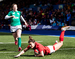 Jess Kavanagh of Wales scores her sides first try<br /> <br /> Photographer Simon King/Replay Images<br /> <br /> Six Nations Round 5 - Wales Women v Ireland Women- Sunday 17th March 2019 - Cardiff Arms Park - Cardiff<br /> <br /> World Copyright © Replay Images . All rights reserved. info@replayimages.co.uk - http://replayimages.co.uk
