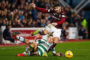 Hearts FC Defender Callum Paterson on the attack during the Ladbrokes Scottish Premiership match between Heart of Midlothian and Celtic at Tynecastle Stadium, Gorgie, Scotland on 27 December 2015. Photo by Craig McAllister.
