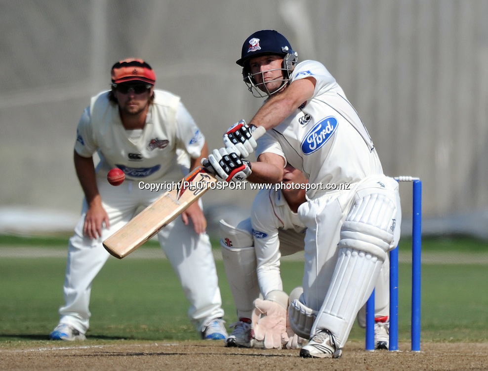 Auckland captain Gareth Hopkins batting. Plunket Shield domestic cricket match, Auckland Aces v Canterbury Wizards. Colin Maiden Park, Auckland. Thursday 31 March 2011. Photo: Andrew Cornaga/photosport.co.nz