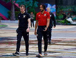 NANNING, CHINA - Wednesday, March 21, 2018: Wales' Medical Officer Doctor Jon Houghton and captain Ashley Williams during a team walk near the Wanda Realm Resort ahead of the 2018 Gree China Cup International Football Championship. (Pic by David Rawcliffe/Propaganda)
