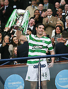 Darren O'Dea lifts the League Cup final after Celtic had wooon the final between Rangers and Celtic at Hampden Park -<br /> David Young