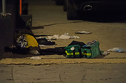 ©Licensed to London News Pictures 16/06/2020<br /> Croydon, UK. First aid bags on scene. A man in his twenties is fight for his life in hospital tonight after being stabbed in Croydon, South East London. Police and paramedics were called at 7.45pm. Police are on scene and a cordon is in place. Photo credit: Grant Falvey/LNP