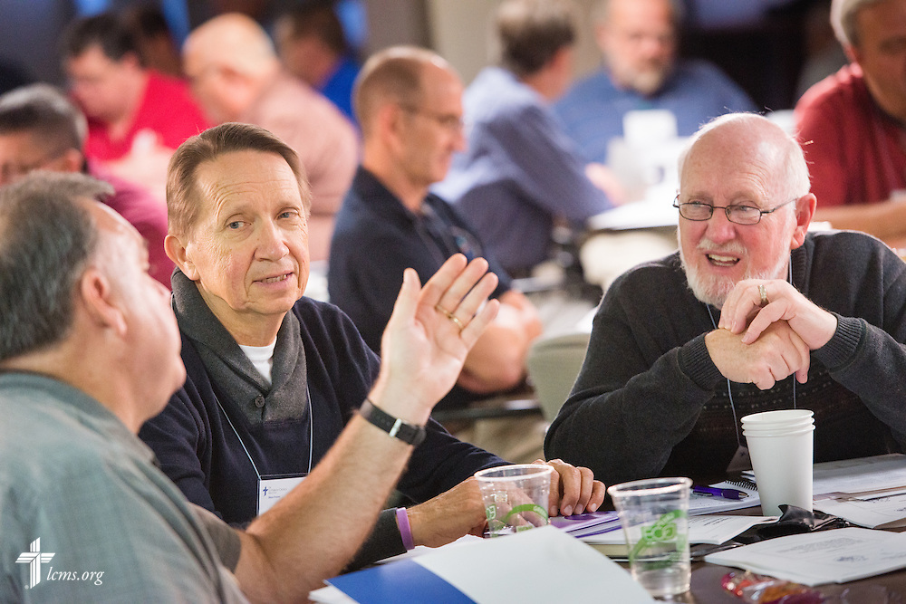 The Rev. Dr. Phillip Kuehnert (second from left) engages with others during discussion at the LCMS Specialized Pastoral Ministry Educational Event and Retreat at the Mercy Conference and Retreat Center on Wednesday, Oct. 29, 2014, in Frontenac, Mo. LCMS Communications/Erik M. Lunsford