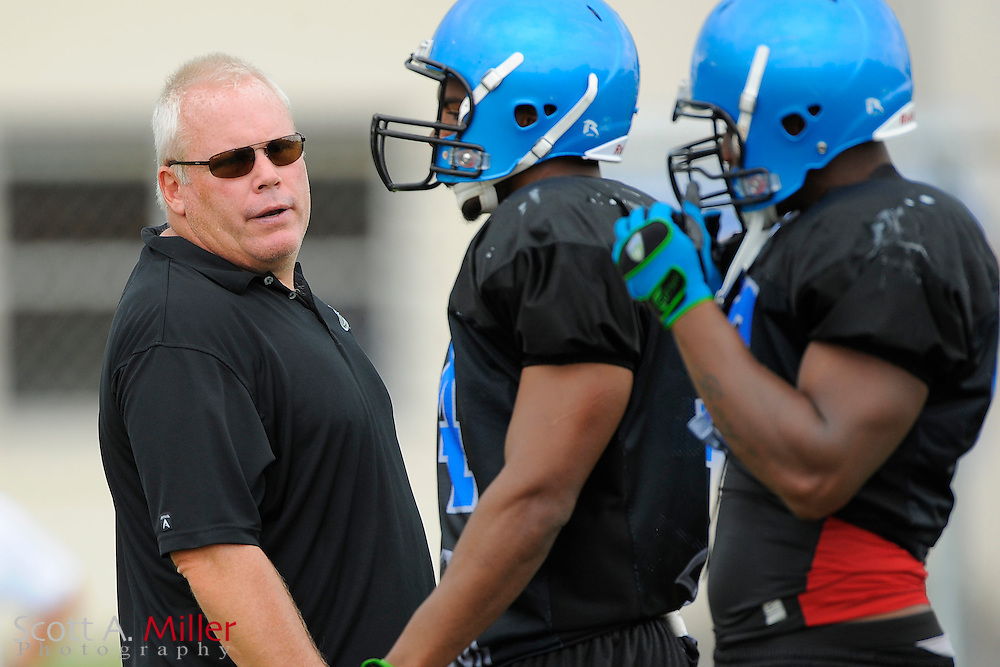 Aug. 25, 2010; Orlando, FL, USA;  Chuck Bresnahan defensive coordinator/linebackers coach during Florida Tuskers training camp at Thunder Field in Orlando. ..©2010 Scott A. Miller