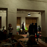 DONETSK, UKRAINE - OCTOBER 16, 2014: Internal Displaced People take shelter in an Soviet era bomb shelter in Petrovskiy district, Donetsk. More than one hundred people have been living for the past four months at the shelter. Many had their homes destroyed during fighting between DNR combatants and the Ukrainian National Guard. CREDIT: Paulo Nunes dos Santos