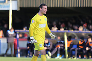 Artur Krysiak (goalkeeper) Yeovil Town FC smiles when Yeovil equalise during the Sky Bet League 2 match between AFC Wimbledon and Yeovil Town at the Cherry Red Records Stadium, Kingston, England on 30 January 2016. Photo by Stuart Butcher.