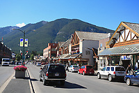 Banff Avenue and the shops in downtown Banff, a resort town in the Canadian Rockies in Banff National Park, Alberta, Canada