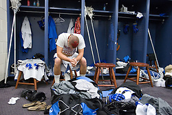 28 May 2007: Duke Blue Devils attackman Zack Greer (25) pregame in the locker room before playing Johns Hopkins in the NCAA Championship at M&T Stadium in Baltimore, MD.