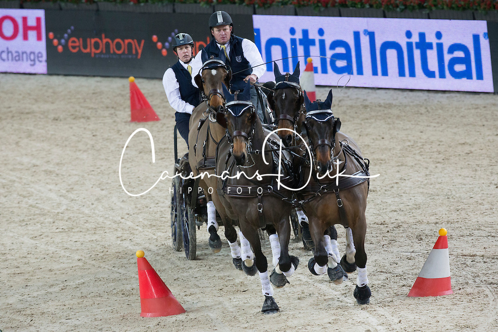 Exell Boyd (AUS) <br /> Warm Up FEI World Cup Four in hand Driving<br /> Flanders Christmas Jumping - Mechelen 2012<br /> © Dirk Caremans