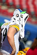 TAMPA, FL - JANUARY 27: Offensive tackle Jason Capizzi #69 of the AFC Pittsburgh Steelers covers his head with a towel during Super Bowl XLIII Media Day at Raymond James Stadium on January 27, 2009 in Tampa, Florida. ©Paul Anthony Spinelli *** Local Caption *** Jason Capizzi