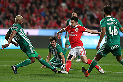 February 3, 2018 - Lisbon, Portugal - Benfica's Portuguese midfielder Pizzi (C ) vies with Rio Ave's defender Marcao (L) during the Portuguese League football match SL Benfica vs Rio Ave FC at the Luz stadium in Lisbon on February 3, 2018. (Credit Image: © Pedro Fiuza/NurPhoto via ZUMA Press)