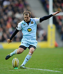 Northampton Fly-Half (#10) Stephen Myler kicks a conversion during the first half of the match - Photo mandatory by-line: Rogan Thomson/JMP - Tel: Mobile: 07966 386802 30/12/2012 - SPORT - RUGBY - stadiummk - Milton Keynes. Saracens v Northampton Saints - Aviva Premiership.