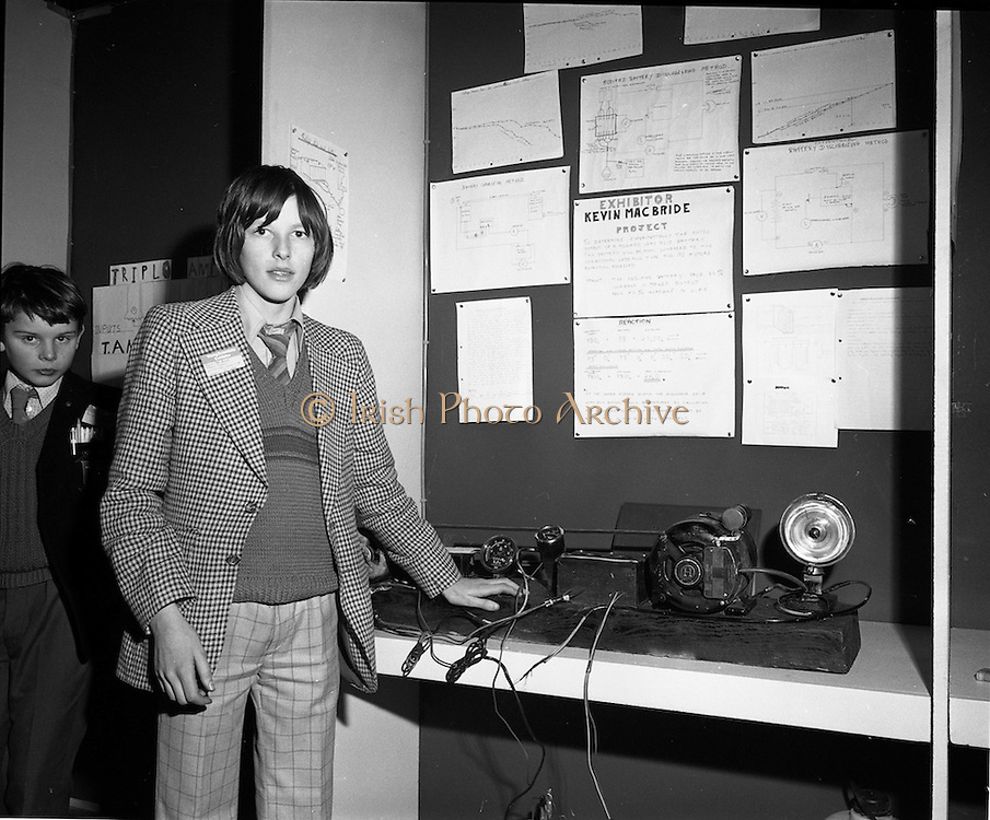 03/01/1975.01/03/1975.3rd January 1975.The Aer Lingus Young Scientist Exhibition at the RDS, Dublin...Picture shows Kevin McBride of St. James's CBS Dublin who won first prize in Junior Physics, with an investigation into the improvement of the storage efficiency of the electro chemical battery.