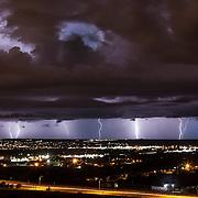 Lightning and dramatic sky during monsoon season near Albuquerque, New Mexico