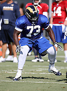 Los Angeles Rams tackle Greg Robinson (73) blocks during the Los Angeles Rams 2016 NFL training camp football practice held on Tuesday, Aug. 2, 2016 in Irvine, Calif. (©Paul Anthony Spinelli)