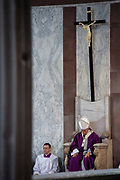 Rome Italy, March 06, 2019: Pope Francis celebrates  the Ash Wednesday Holy Mass which opens Lent, the forty-day period of abstinence and deprivation for Christians before Holy Week and Easter at the Santa Sabina Church.