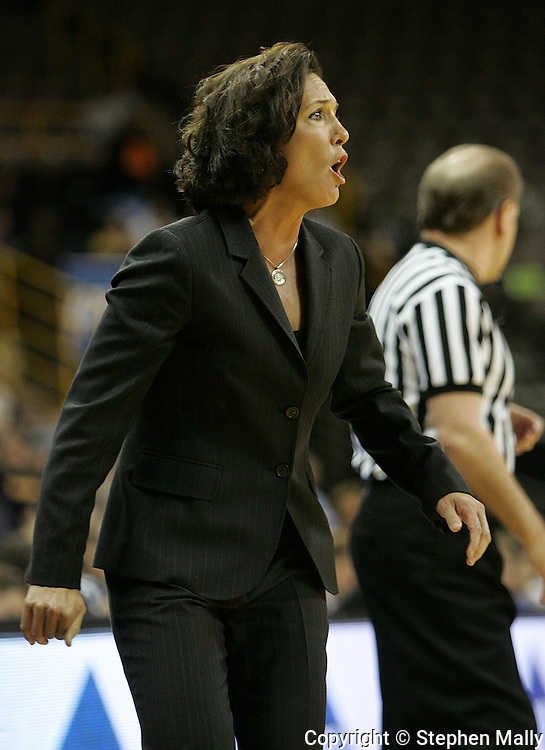28 NOVEMBER 2007: Georgia Tech head coach MaChelle Joseph yells instructions to her players in the first half of Georgia Tech's 76-57 win over Iowa in the Big Ten/ACC Challenge at Carver-Hawkeye Arena in Iowa City, Iowa on November 28, 2007.