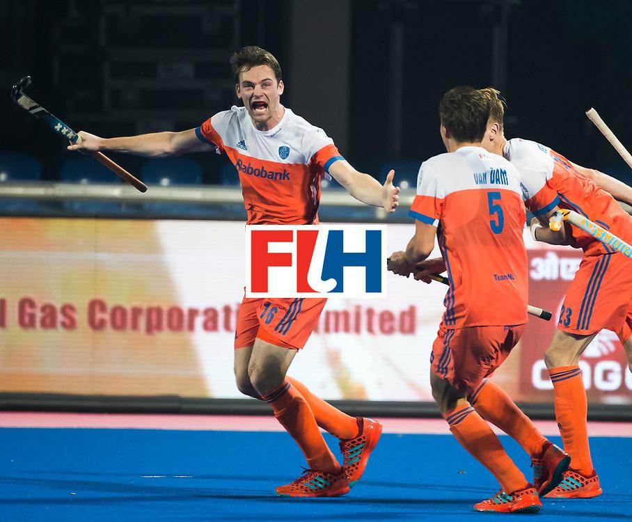 BHUBANESWAR - Mirco Pruyser (Ned) heeft gescoord  tijdens de Hockey World League Finals , de kwartfinale wedstrijd Duitsland-Nederland (3-3).Duitsland wint na shoot-outs.    COPYRIGHT KOEN SUYK