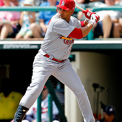 March 19, 2012; Lake Buena Vista, FL, USA; St. Louis Cardinals right fielder Carlos Beltran (3) against the Atlanta Braves during a spring training game at Disney Wide World of Sports complex. Mandatory Credit: Derick E. Hingle-US PRESSWIRE