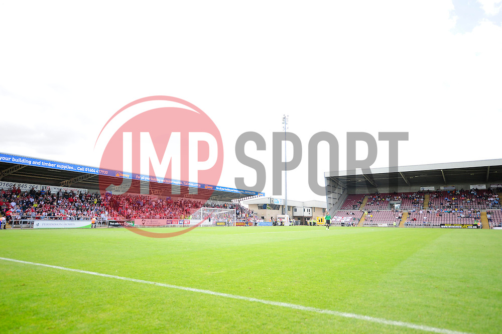 The away end is full of Bristol City fans, which is next to the home main stand which is empty of home supporters  - Photo mandatory by-line: Dougie Allward/JMP - Tel: Mobile: 07966 386802 11/08/2013 - SPORT - FOOTBALL - Sixfields Stadium - Sixfields Stadium -  Coventry V Bristol City - Sky Bet League One