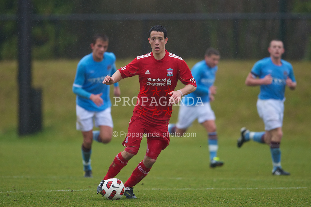 KIRKBY, ENGLAND - Saturday, February 5, 2011: Liverpool's Krisztian Adorjan in action against Manchester City during the FA Academy Under 18s League at the Kirkby Academy. (Photo by David Rawcliffe/Propaganda)