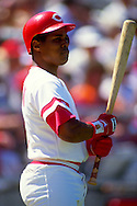 CINCINNATI-CIRCA 1991:  Barry Larkin of the Cincinnati Reds looks on during an MLB game at Riverfront Stadium in Cincinnati, Ohio.  Larkin played for the Reds from 1986-2004.   (Photo by Ron Vesely)   Subject: Barry Larkin.