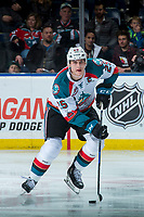KELOWNA, CANADA - FEBRUARY 2:  Cal Foote #25 of the Kelowna Rockets skates with the puck against the Everett Silvertips on FEBRUARY 2, 2018 at Prospera Place in Kelowna, British Columbia, Canada.  (Photo by Marissa Baecker/Shoot the Breeze)  *** Local Caption ***